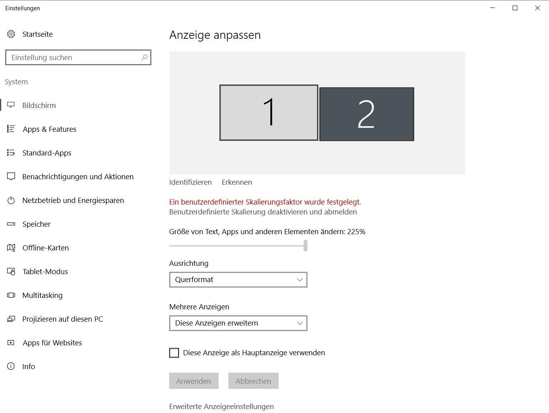 Windows Anzeigeeinstellungen